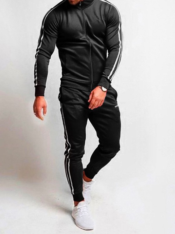 Stripe Jacket Pants Lace-Up Men's Sports Outfit
