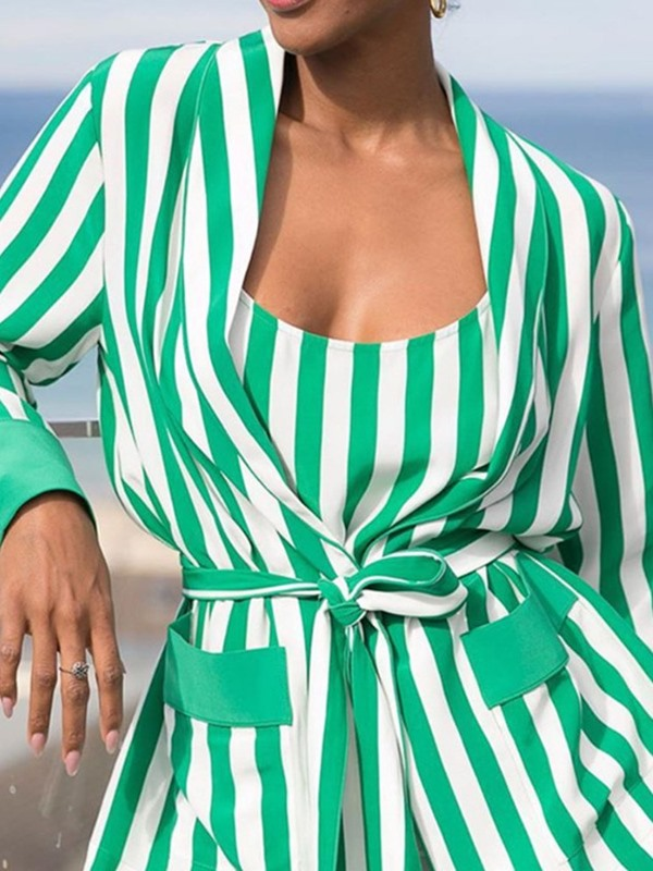 Stripe Print Lace-Up Straight Women's Two Piece Sets