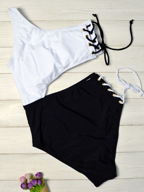 Color Block Lace-Up Hollow One Piece Swimwear