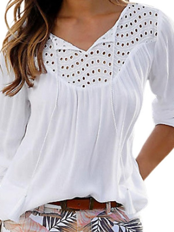 Hollow Plain Mid-Length Loose Women's Blouse