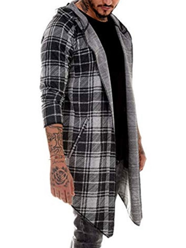 Mid-Length Color Block Hooded Men's Trench Coat