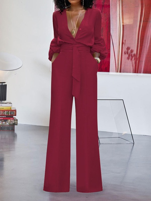 Full Length Plain Lace-Up Straight Loose Women's Jumpsuit
