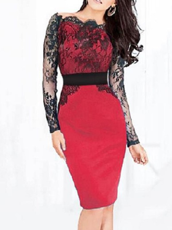 Long Sleeve Knee-Length Lace Women's Bodycon Dress