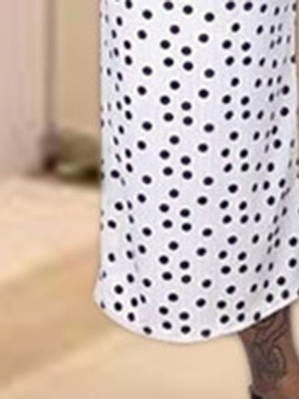 Polka Dots Mid-Calf Fashion Wide Legs Round Neck Women's Two Piece Sets