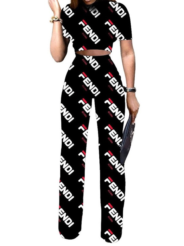 Print Letter Straight Pullover Women's Two Piece Sets