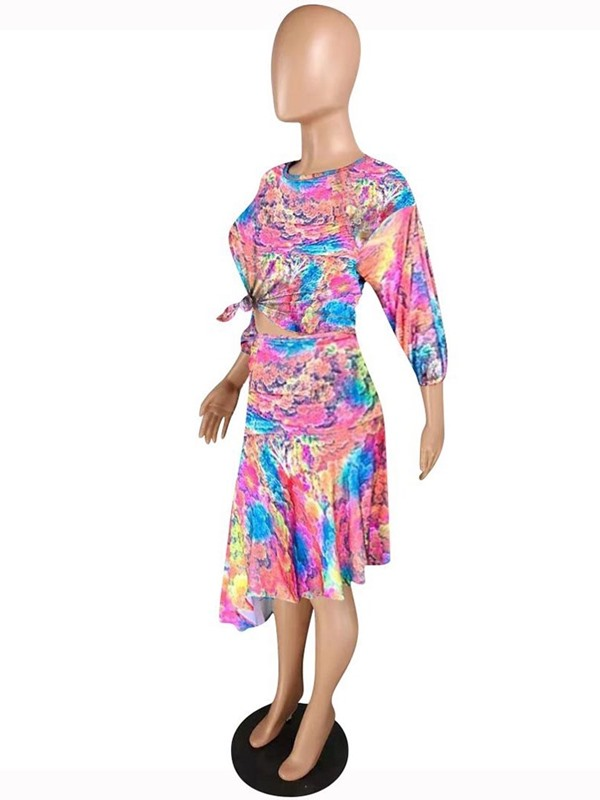 Fashion Floral Pullover Asymmetrical Women's Two Piece Sets