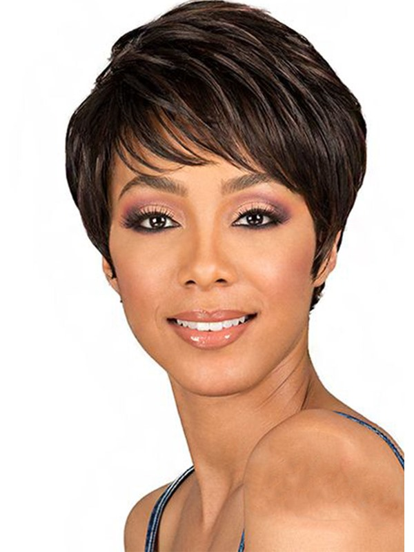 Short Pixie Cut Hairstyles Women's Natural Straight Synthetic Hair Lace Front Cap Wigs 8Inch