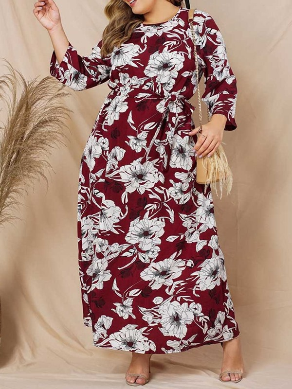 Round Neck Long Sleeve Ankle-Length A-Line Floral Women's Maxi Dress
