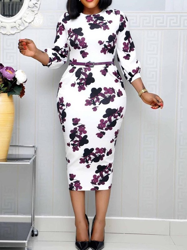 Mid-Calf Print Round Neck Pullover Floral Women's Bodycon Dress