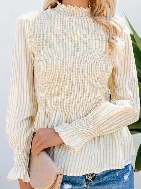 Stand Collar Long Sleeve Pleated Women's Blouse