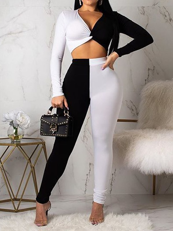 Color Block Fashion Pants V-Neck Pencil Pants Women's Two Piece Sets