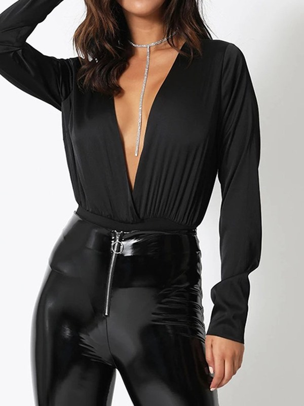 Plain Shorts Sexy Slim Women's Bodysuit