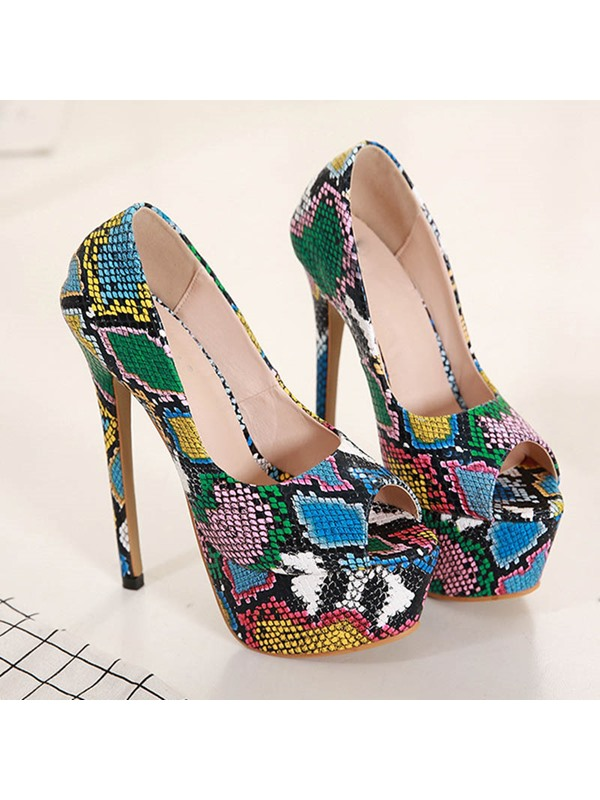 Peep Toe Stiletto Heel Snake Print Women's Pumps