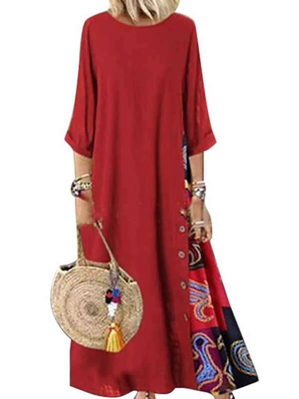 Round Neck 3/4 Sleeve Ankle-Length Women's Casual Dress