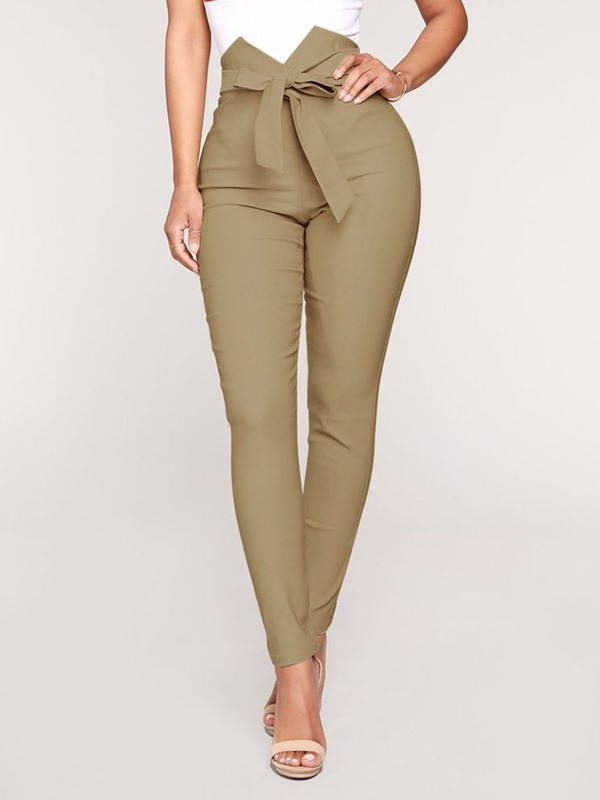 Skinny Plain Zipper Full Length Women's Casual Pants