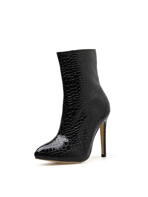 Pointed Toe Plain Stiletto Heel Casual Boots