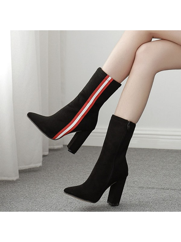 Side Zipper Pointed Toe Color Block Ankle Boots