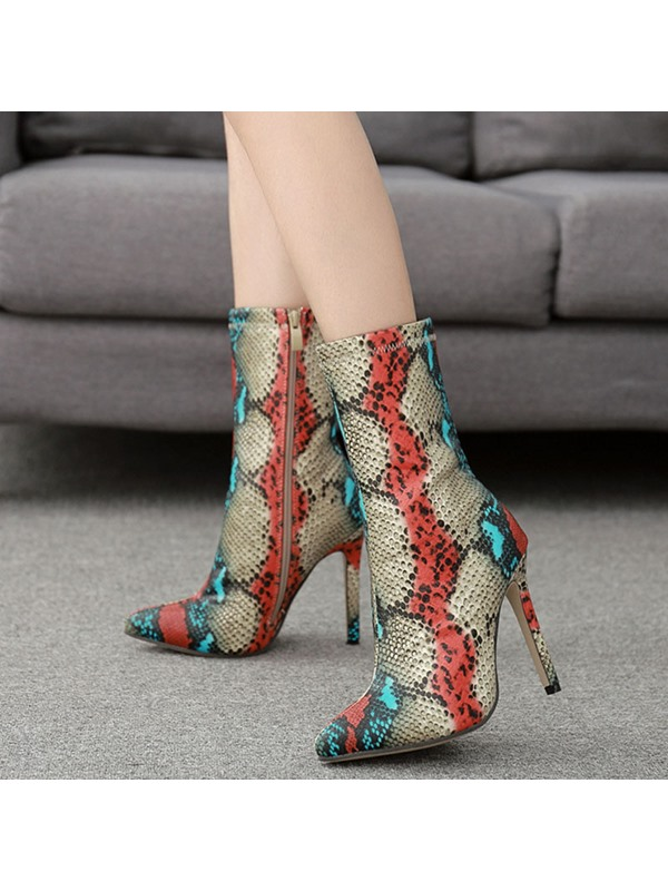 Pointed Toe Seroentine Side Zipper Ankle Boots