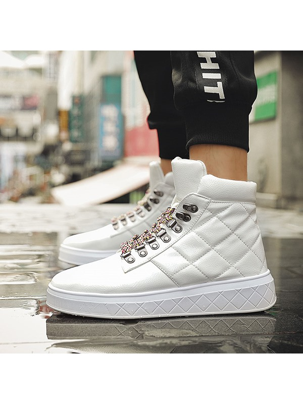 HighTop Lace-Up Round Toe Men's Skate Shoes
