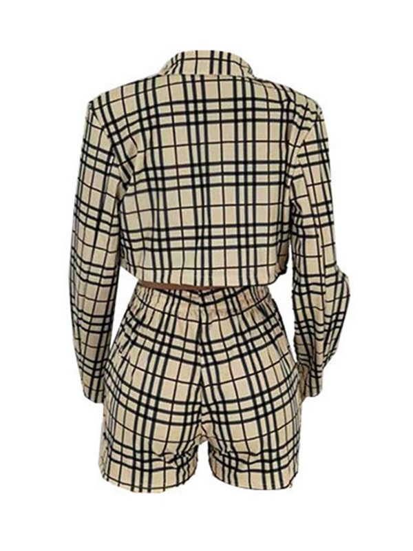 Plaid Jacket Print Straight Wrapped Women's Two Piece Sets