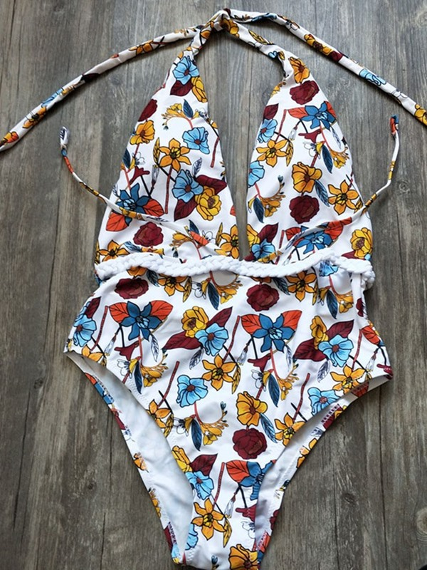 Color Block Floral Sexy Print One Piece Swimwear