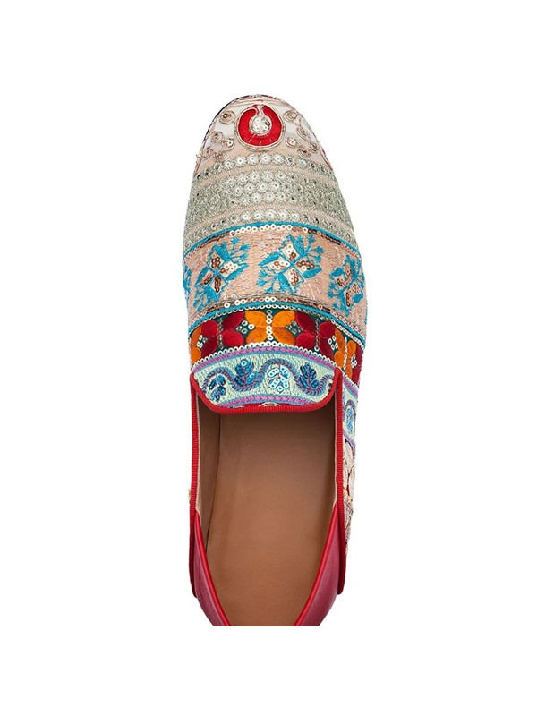 Sequin Slip-On Round Toe Floral Men's Prom Shoes