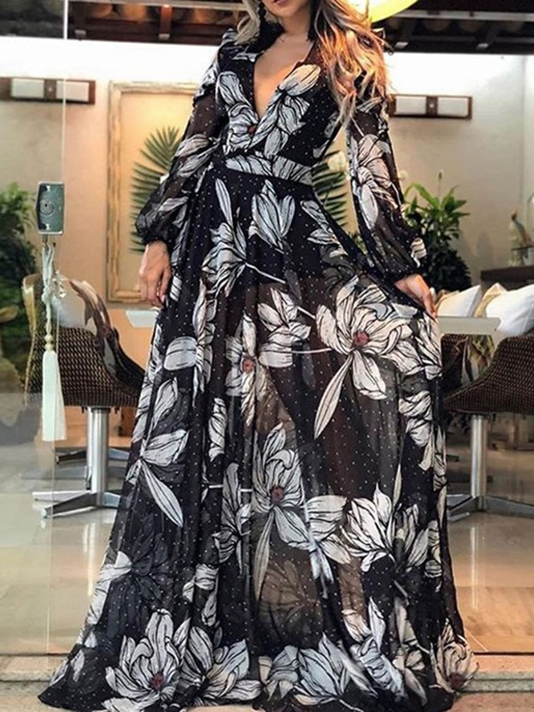 V-Neck Floor-Length Print A-Line Pullover Women's  Dress