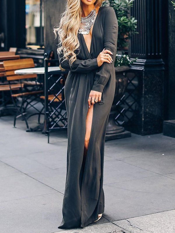 Split Floor-Length Long Sleeve Pullover Women's Maxi Dress