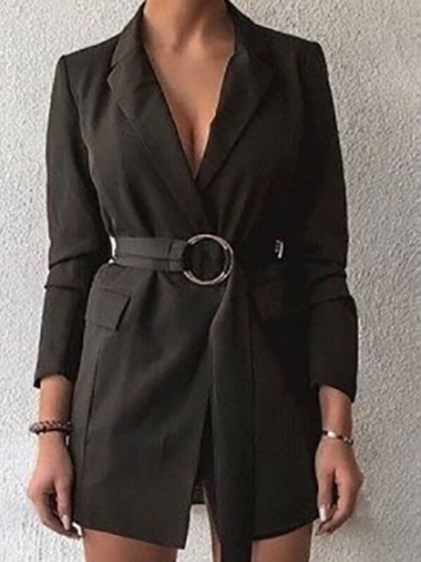 V-Neck Lace-Up Mid-Length Plain Belt Women's Blazer