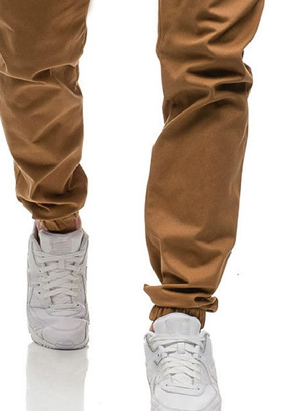 Plain Loose Lace-Up Casual Men's Jeans
