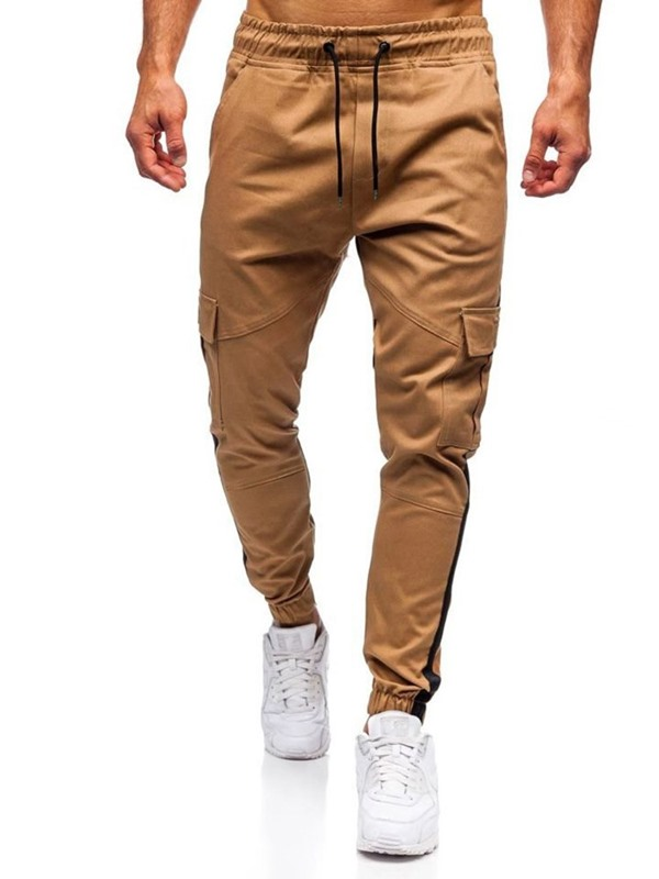 Lace-Up Color Block Overall Casual Men's Jeans