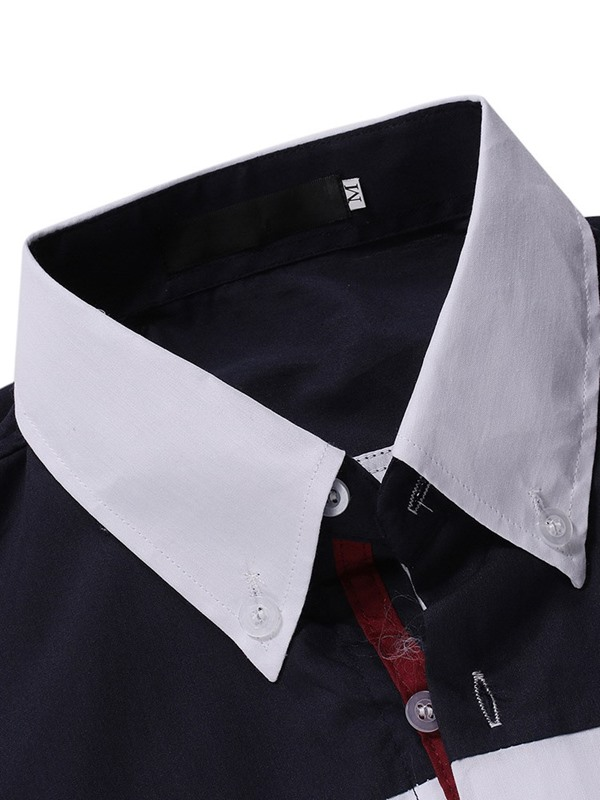 Casual Lapel Button Color Block Single-Breasted Men's Slim Shirt