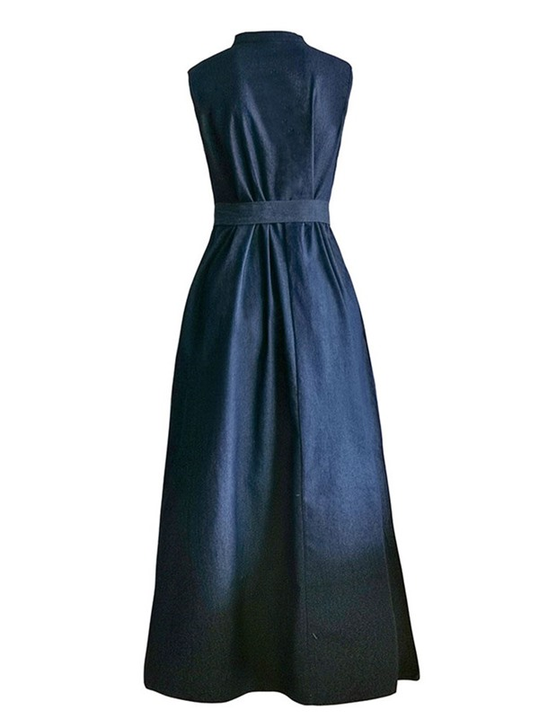Lace-Up Sleeveless Ankle-Length High Waist Women's Maxi Dress