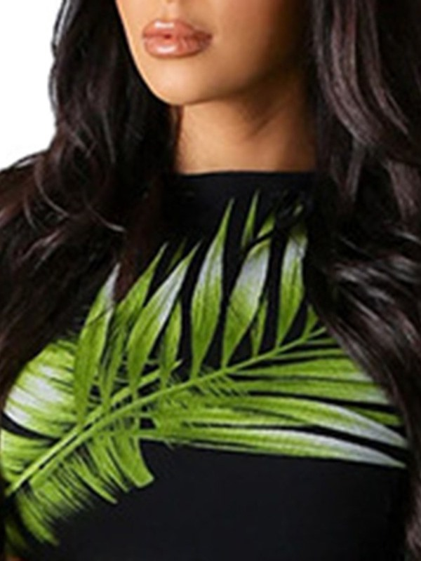 Plant Print T-Shirt Round Neck Pullover Women's Two Piece Sets
