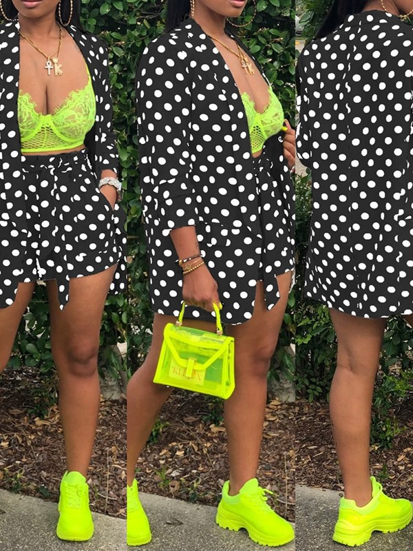 Polka Dots Fashion Print Wide Legs Wrapped Women's Two Piece Sets