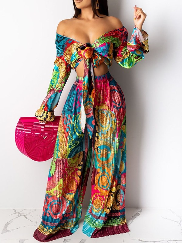 African Fashion Dashiki Print Wide Legs Pullover Women's Two Piece Sets