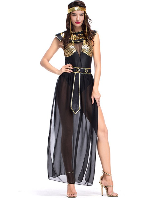 Color Block Sleeveless Polyester Women's Costumes