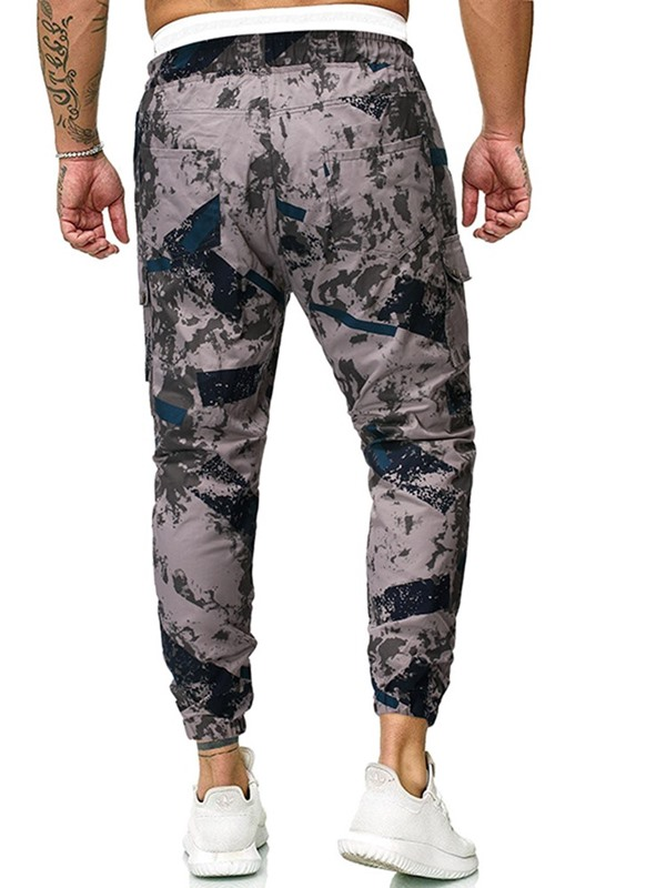 Pocket Overall Camouflage Lace-Up Men's Casual Pants