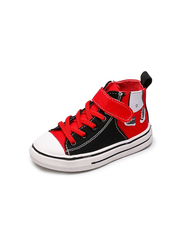 Lace-Up Korean Patchwork High Top Kid's Sneakers