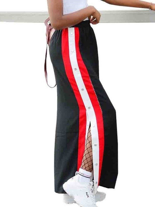 Ankle-Length Straight Color Block Casual Women's Skirt