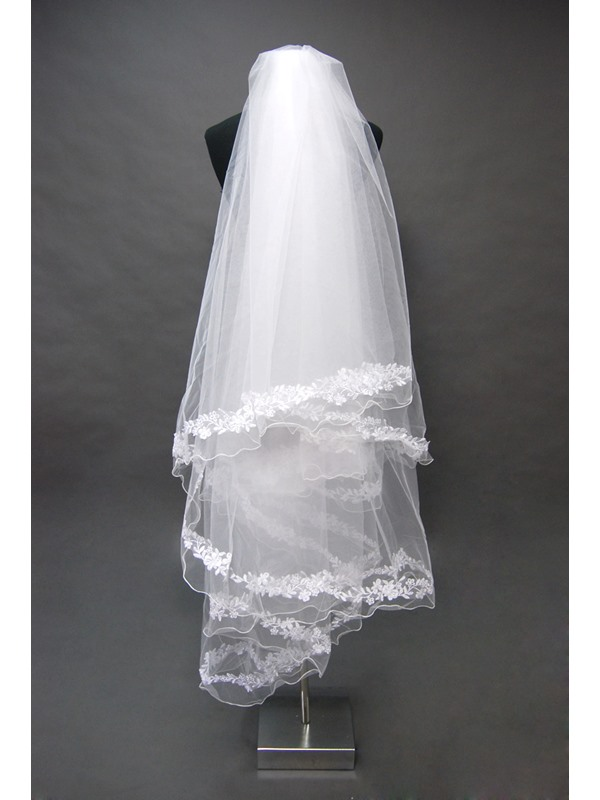 Noble Tidebuy Waltz Style Wedding Bridal Veil with Lace Applique Edge
