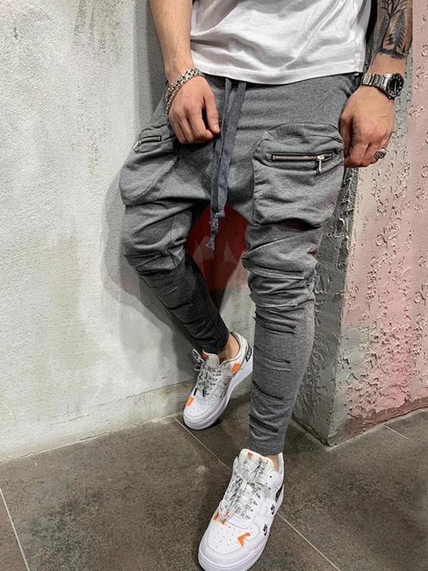 Lace-Up Baggy Pants Plain Mid Waist Men's Casual Pants