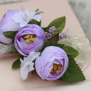 Remarkable Purple Silk Cloth Bud Wedding Bridal Wrist Corsage