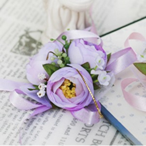 Romantic Light Purple Silk Cloth Flower Wedding Bridal Wrist Corsage