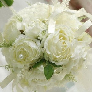 Chaste Green-white Silk Cloth Wedding Bridal Bouquet