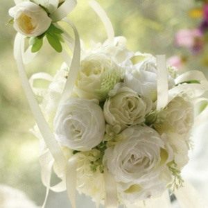Pure Green-white Silk Cloth Wedding Bouquet for Bride