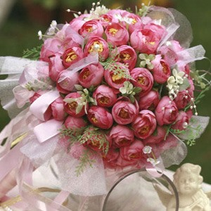 Passionate Rose Silk Cloth Bud Wedding Bouquet for Bride