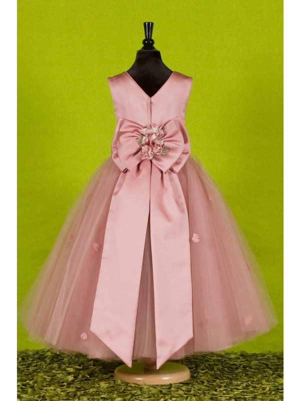 Attractive A-Line Ankle-length Round-neck Flowers Embellishing Flower Girl Dress(Free Shipping)