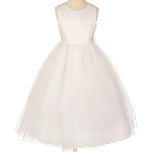 Amazing Ball Gown Tea-length Bowknot Scoop Flower Girl Dress