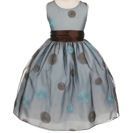 Ball Gown Round-Neck Tea-length Bowknot & Pattern Flower Girl Dress
